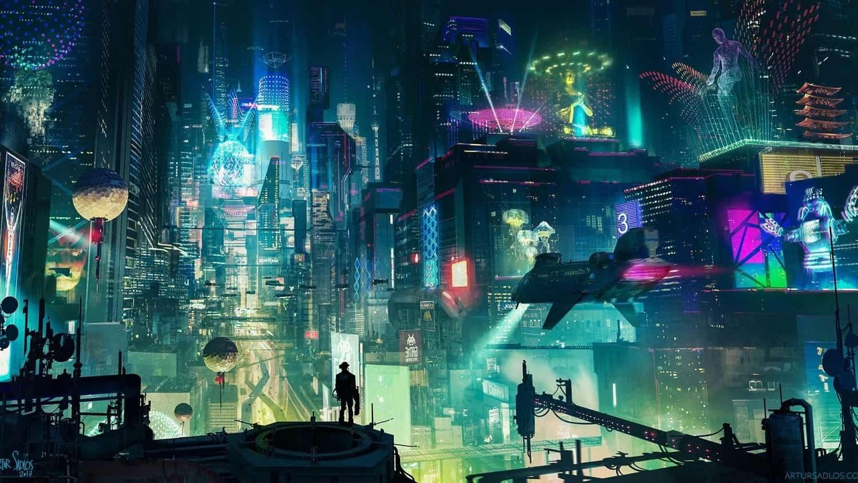 HD обои на тему неон, киберпанк, футуристический город